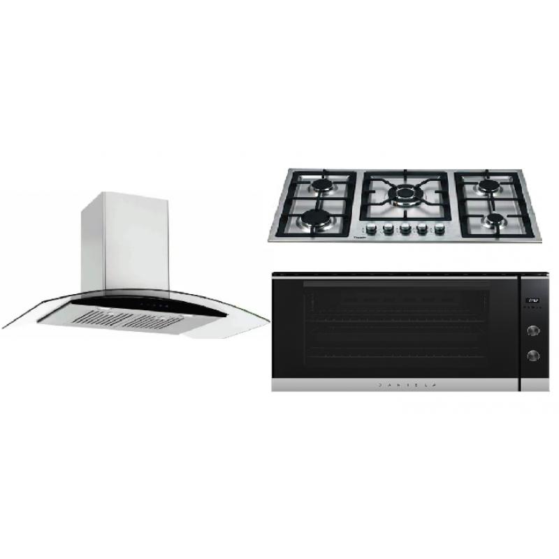 Daniela 90cm Canopy Rangehood Glass DAN9GUS & 90cm Gas Cooktop DAN95GTS & 90cm 8 Multi-Function Oven DAN90ASS PACK 11