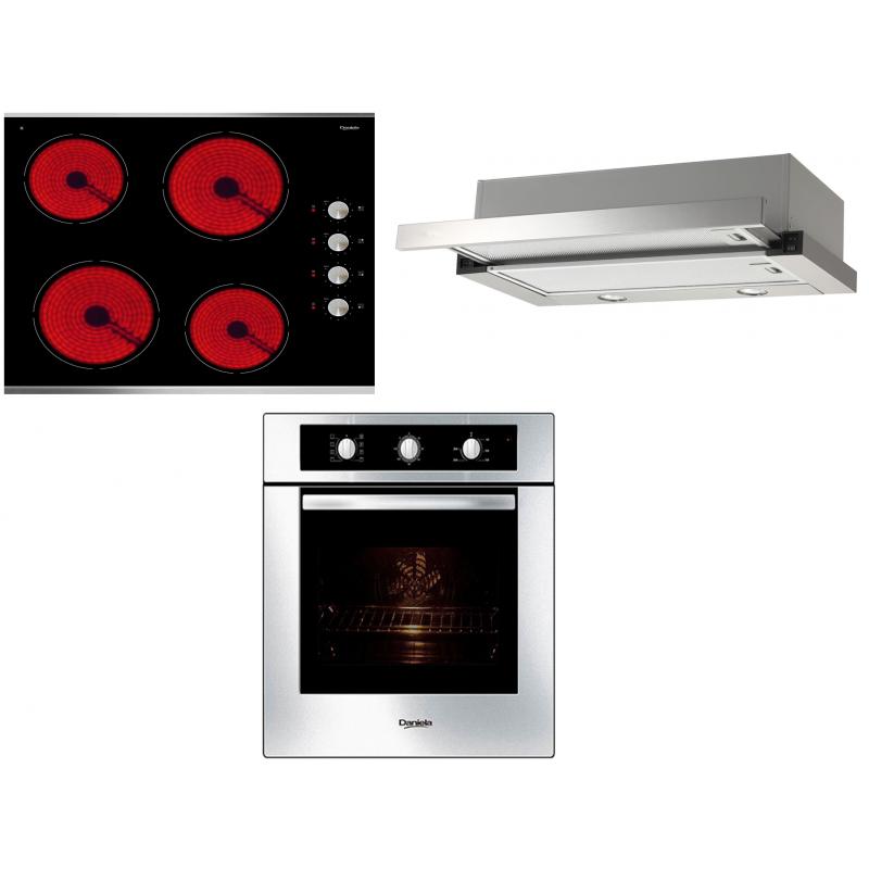 Daniela 60cm Ducted Slideout Rangehood DAN6SO & 60cm Ceramic Cooktop DAN6CY & 60cm 8 Multi-Function Oven DAN8MFS PACK 3