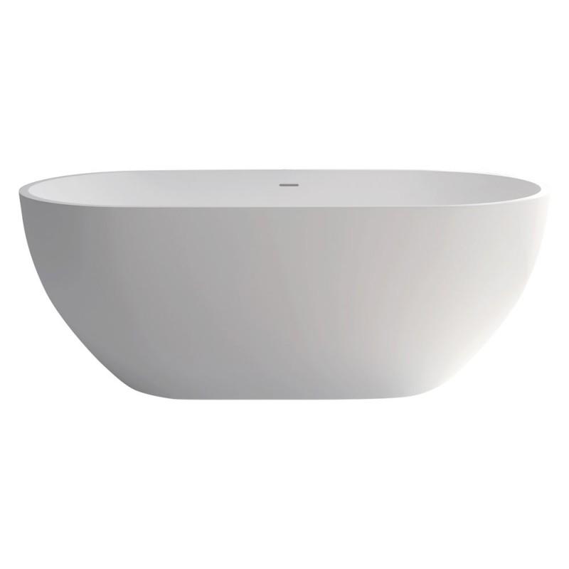 Fienza Nero 1550mm Matte White Stone Bath