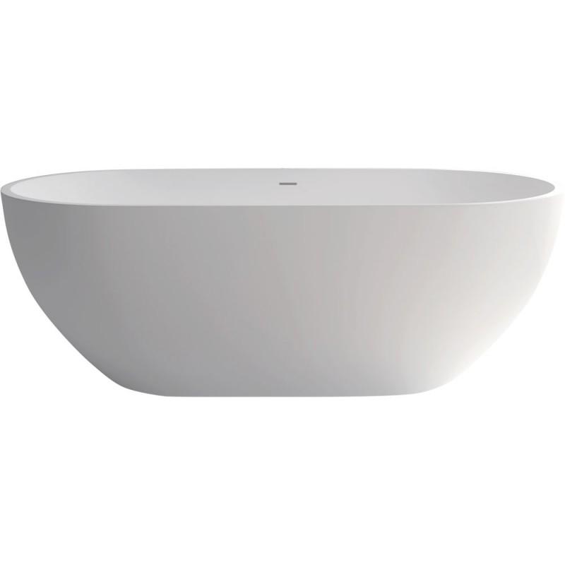 Fienza Nero 1780mm Matte White Stone Bath