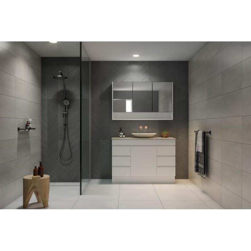 Timberline Bargo Floor Standing Vanity 600mm - 2100mm, 20mm SilkSurface Top with White Gloss Ceramic Basin
