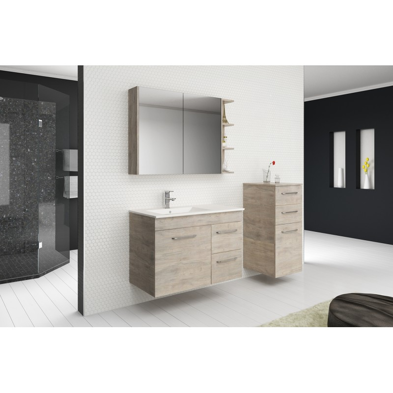 Timberline Bargo Wall Hung Vanity 600mm - 2100mm, 20mm Stone Top with White Gloss Ceramic Under Counter Basin