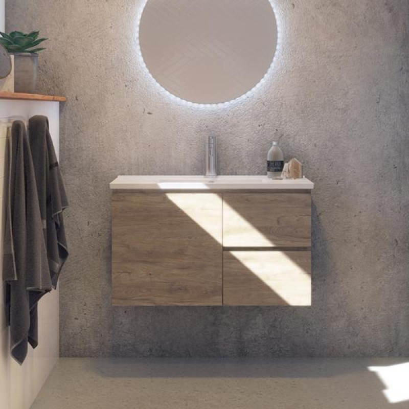 Timberline Florida Ensuite Wall Hung Vanity 600mm - 1000mm with Ceramic Top