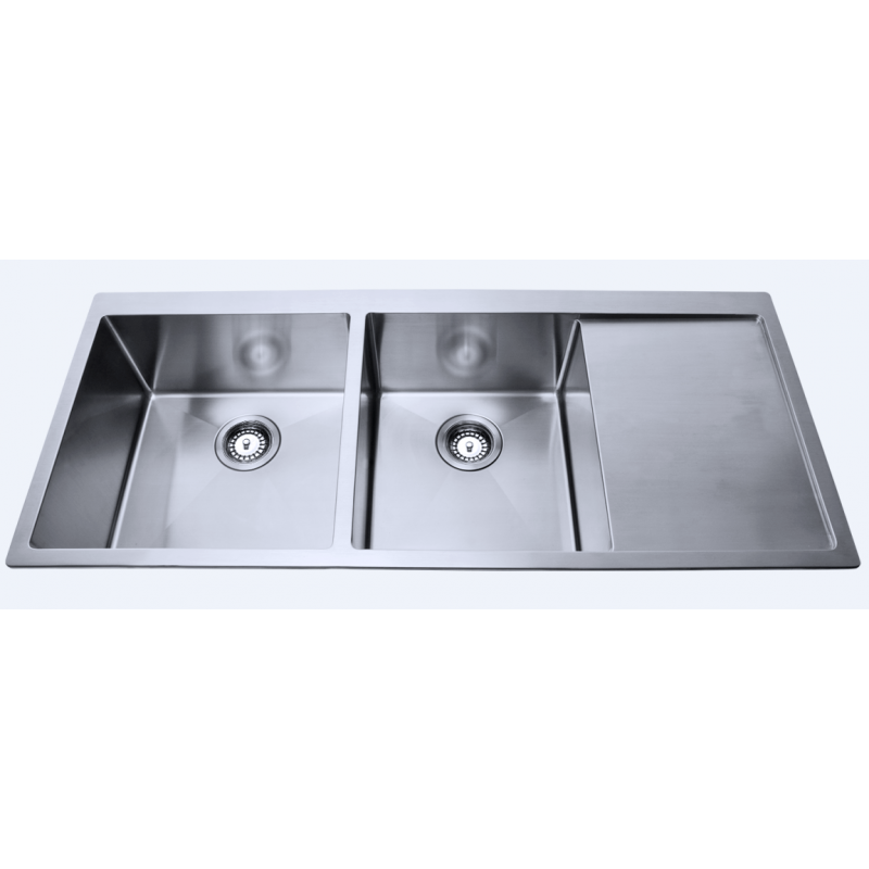 1140 x 440 x 230mm  Double Bowl Kitchen Sink with Round Corner and Drainer Board