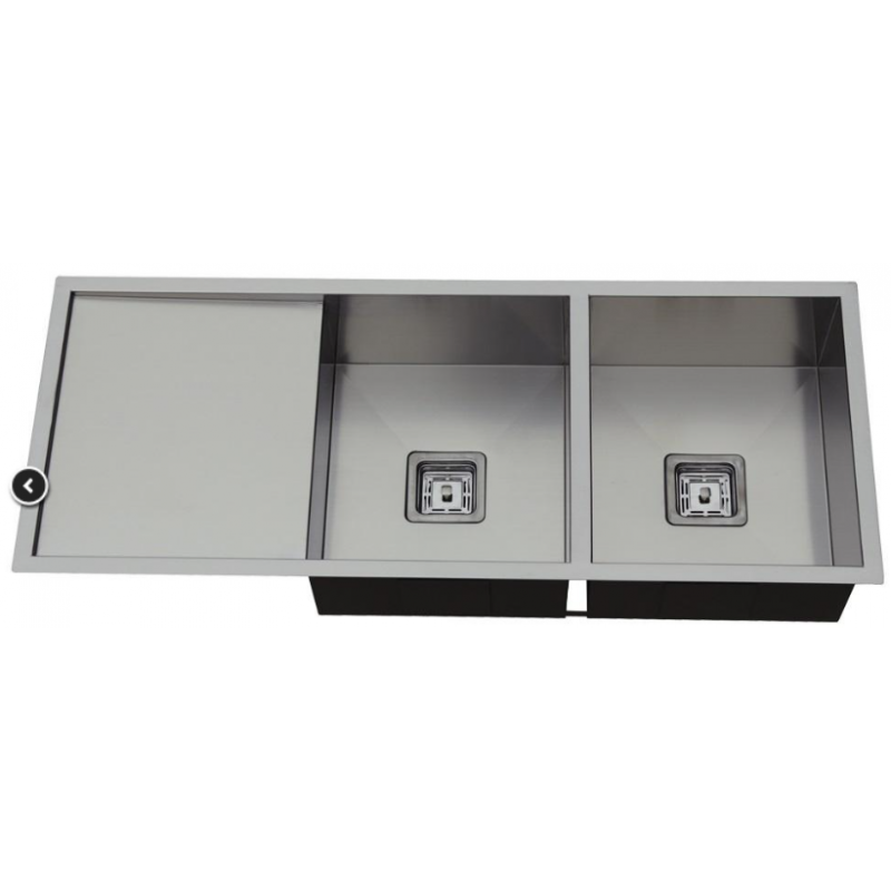 1160 x 450 x 235mm Double Bowl Kitchen Sink with Round Corner and Drainer Board
