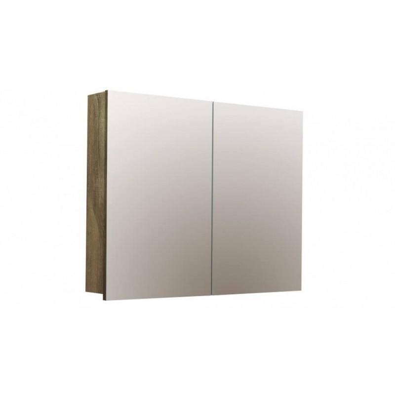 Forme Logan 900 Mirror Shaver Cabinet - Walnut