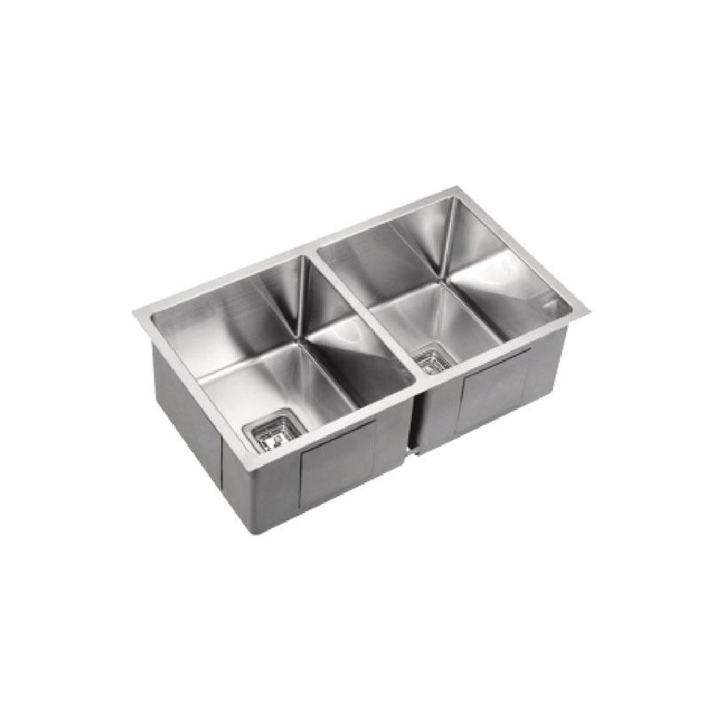775 x 450 x 235mm Double Bowl Kitchen Sink with Round Corner