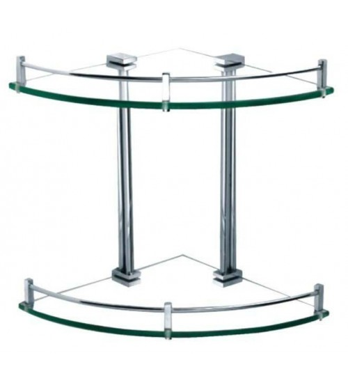 Clear Corner Double Glass Shelf With Bar CS-02
